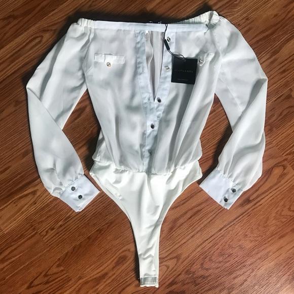 bb80e6ef5b91f7 JLUX White Off Shoulder Button Up Bodysuit